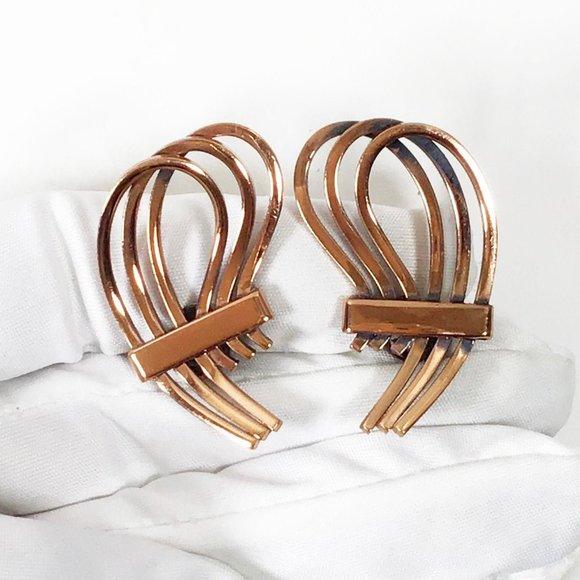 Vintage Renoir Copper Clip Earrings!